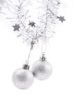 Xmas decoration. Xmas evening balls and silver chain isolated on white stock photo