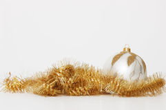 Xmas decoration. Yellow xmas decoration isolated on white Royalty Free Stock Photo