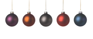 Xmas decoration. 5 xmas balls with a nice soft texture, isolated on a white background Stock Photography