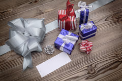Xmas decoration with blank greeting card Stock Image