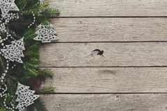Christmas decoration, ornaments and garland frame background Royalty Free Stock Photo