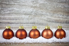 Xmas decoration with brown balls Royalty Free Stock Photos