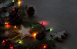 Christmas decoration and lights on table royalty free stock photos
