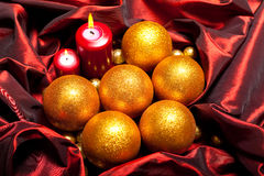 Xmas decoration - golden balls Royalty Free Stock Photos