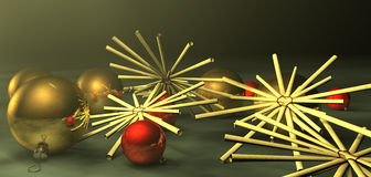 Xmas decoration. Golden and red christmas tree balls and straw stars in soft mood Royalty Free Stock Image