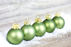 Xmas decoration with green balls Royalty Free Stock Photos