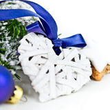 Xmas decoration with heart Royalty Free Stock Images