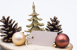 XMAS decoration. Image shows christmas decoration with blank label royalty free stock photography