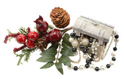 Xmas decoration with jewelry Stock Images