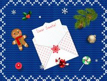 Xmas decoration om blue knitted background, Space for text. Beautiful Christmas background with open envelope and wish list inside. Xmas decoration om blue Stock Images