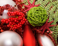 Xmas decoration ornaments. In silver and green and red Royalty Free Stock Image