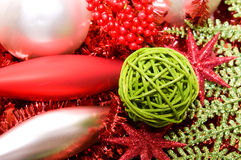 Xmas decoration ornaments. In silver and green and red Stock Photos