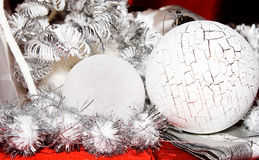 Xmas decoration ornaments. In white and silver and red Royalty Free Stock Photography