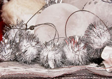 Xmas decoration ornaments. In white and silver Stock Photos