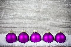 Xmas decoration with purple balls Royalty Free Stock Photo