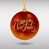 Xmas decoration red glass ball with gold inscription Merry Christma. Xmas decoration, red glass ball with gold inscription Merry Christmas on transparent Stock Image