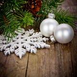 Xmas decoration with white balls Stock Photos