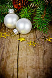 Xmas decoration with white balls Royalty Free Stock Images