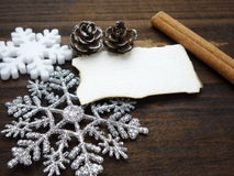 Xmas Decoration with white paper wallpaper Stock Photo