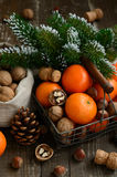Xmas decoration wih tangerines, nuts and pine tree twigs Royalty Free Stock Image