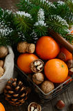 Xmas decoration wih tangerines, nuts and pine tree twigs Royalty Free Stock Photo