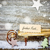 Xmas decoration on wooden background Stock Photo