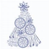 Xmas Decorations. Abstract Christmas Tree, Cinnamon Sticks, Sta Stock Photos