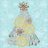 Xmas Decorations. Abstract Christmas Tree, cinnamon sticks, sta Royalty Free Stock Image
