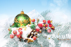 Xmas decorations on blue-white background Royalty Free Stock Photography