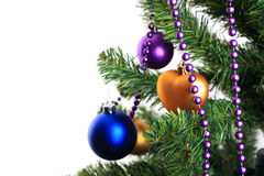 Xmas decorations on christmas tree Stock Photos
