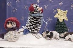 Xmas decorations crafts snow scenary crochet snowman, skier, she Royalty Free Stock Photography