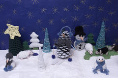 Xmas decorations crafts snow scenary. A horizontal frontal view of a xmas scene Stock Photography