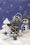 Xmas decorations crafts snow scenary skier snowman and tree Stock Images