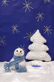 Xmas decorations crafts snow scenary snoeman and a tree Stock Photography