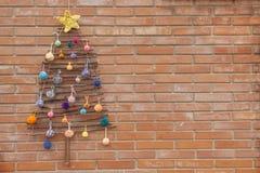 Xmas decorations crafts tree wall pompom Royalty Free Stock Photo
