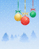 Xmas decorations. An illustration of a festive christmas card with golden red and green baubles on a cold snowy background with winter pine trees Royalty Free Stock Photo