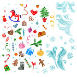 Xmas decorations set. Christmas design elements and abstract frozen ice texture in water color style . Xmas decorations set. Vector illustration royalty free illustration