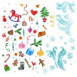 Xmas decorations set. Royalty Free Stock Images