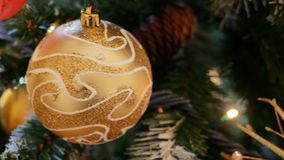 Xmas decorative ball christmas tree closeup. Xmas decorative ball on christmas tree closeup stock video