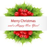 Xmas decoratoions with red holly berries and leaves. Fir tree branches isolated on white with banner with Merry Christmas and a Happy New Year text Stock Image