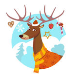 Xmas deer. Seasons greeting card with hipster animal. Flat design illustration in vector. Winter animal concept. For print, postcard, web, social media and t Stock Photo