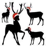 Xmas deer silhouette design set Royalty Free Stock Images