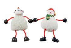 Xmas deer and snowman Stock Photo