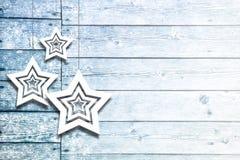Xmas dekoraci błękitnego koloru drewniane deski Zdjęcia Royalty Free