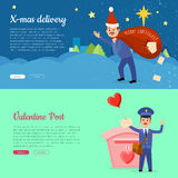 Xmas Delivery and Valentine Post Banner with Postman Royalty Free Stock Image