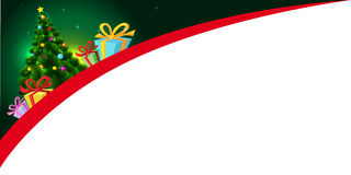 Xmas design with xmas tree and gift - vector banner Royalty Free Stock Photo