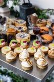 Xmas desserts with meringue tart. Various homemade desserts, buffet style stock photo