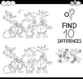 Xmas difference game coloring page. Black and White Cartoon Illustration of Finding Differences Educational Game for Kids with Christmas Characters Coloring Book Royalty Free Stock Photos