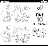 Xmas differences coloring page. Black and White Cartoon Illustration of Finding Differences Educational Game for Children with Christmas Characters Coloring Book Royalty Free Stock Images