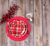 Xmas dinner setting for the festive holiday season on rustic woo Stock Images